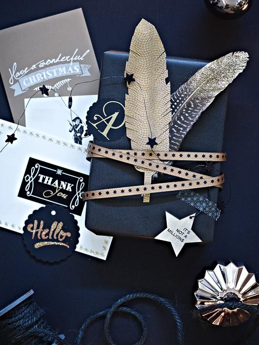 DIY Geschenke verpacken in schwarz und Gold mit Geschenkpapier und Bändern von DEPOT - Produkt-Fotografie: Anna Schneider / neon fotografie Styling: Eva Schwarz