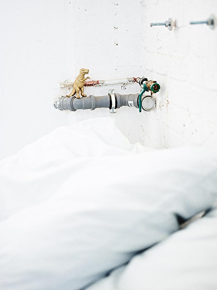 DIY-Idee Dinosaurier gold sprühen - Wohnen im weißen Industrie-Loft - Foto: Anna Schneider / neon fotografie Styling: Salome Kleb / Little Moods