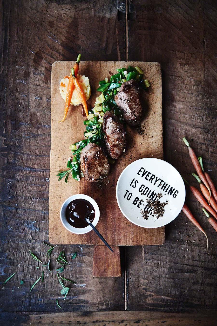 Wildschwein-Rücken Mignons- Foodfotografie für das Kochbuch WILD von Harald und Maximilian Rüssel