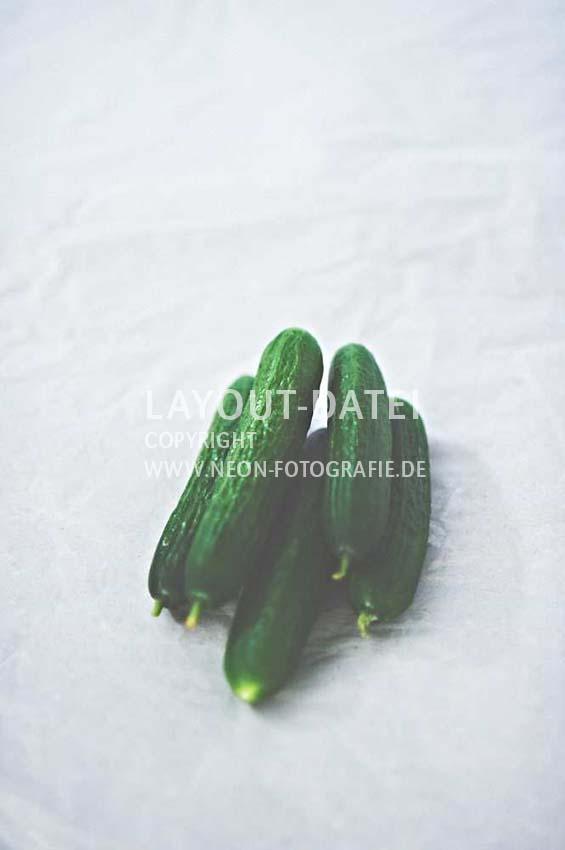kleine-gurken-auf-papier-gemuese-moderne-food-stockfotografie-neon