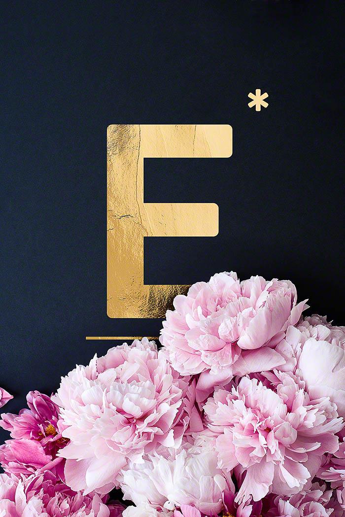 E - Goldenes Alphabet auf schwarzem Hintergrund mit Pfingstrosen