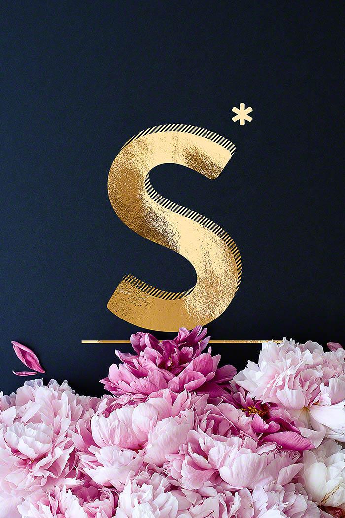 S - Goldenes Alphabet auf schwarzem Hintergrund mit Pfingstrosen