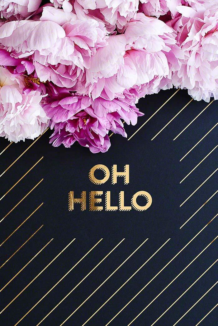 Oh hello - golden typography print mit Pfingstrosen